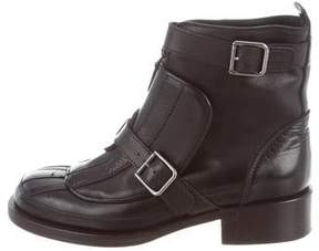 Chanel Leather Buckle Ankle Boots