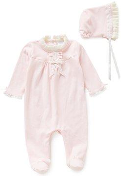 Edgehill Collection Baby Girls Newborn-6 Months Ruffled Coverall & Bonnet Set