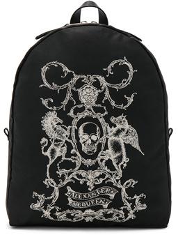 Alexander McQueen Printed Backpack in Black.