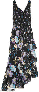 3.1 Phillip Lim Tiered Floral-print Silk-crepon Maxi Dress - Black