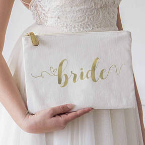 Cathy's Concepts CATHYS CONCEPTS Gold Foil Bride Canvas Clutch