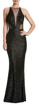 Dress the Population Plunging Sleeveless Sequin Gown