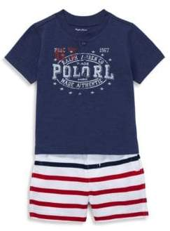 Ralph Lauren Baby's Two-Piece Logo Tee and Striped Shorts Set
