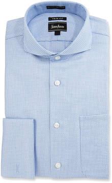 Neiman Marcus Trim-Fit Regular-Finish Rope-Print Dress Shirt, Blue/White