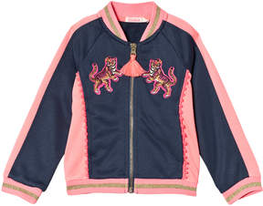 Billieblush Navy and Pink Embroidered Bomber Jacket
