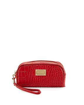 St. John Collection Crocodile-Embossed Leather Camera Case, Red