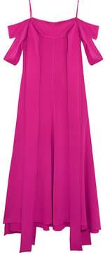 Ellery Poppies Off-the-shoulder Satin-crepe Midi Dress - Magenta