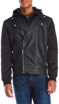 Members Only Hooded Faux Leather Biker Jacket