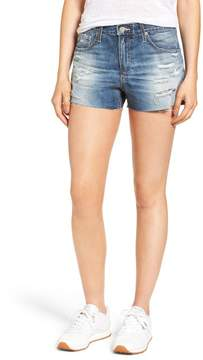 AG Jeans Bryn High Rise Cutoff Denim Shorts (19 Years Quilted Blue)