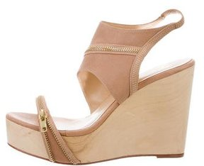 Halston Leather Zip-Accented Wedges