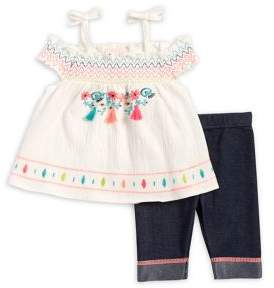 Little Lass Baby Girl's Two-Piece Embroidered Top and Contrast Pants Set
