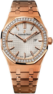 Audemars Piguet Royal Oak Silver Dial 18kt Rose Gold Ladies Watch 67651ORZZ1261OR01
