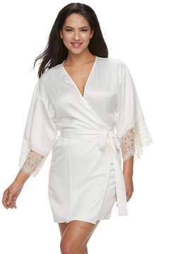 Flora Nikrooz Flora By Women's Flora by Lace-Trim Charmeuse Wrap Robe