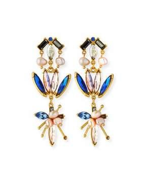 Sequin Floral Crystal Drop Earrings