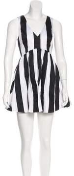 Keepsake Striped Cutout-Accented Dress