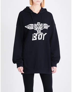Boy London Eagle tape-print cotton-jersey hoody