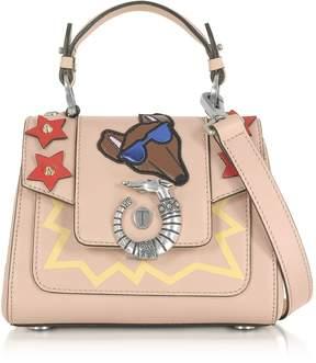 Trussardi Lovy Joy Natural Leather Mini Crossbody Bag w/Emoticon Embroidery