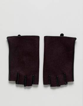 Asos Fingerless Leather Gloves In Burgundy Check