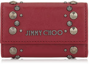 Jimmy Choo HOWICK Red Leather Key Holder with Punk Studs