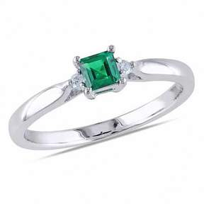 Zales Princess-Cut Lab-Created Emerald and 1/20 CT. T.W. Diamond Ring in Sterling Silver