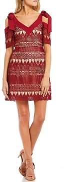 Keepsake Walk On By Lace Cold Shoulder Mini Dress