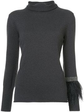 Fabiana Filippi ostrich feather trim sweater