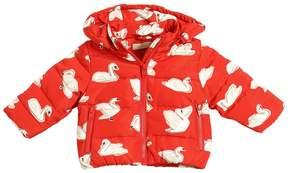 Stella McCartney Swans Printed Hooded Nylon Puffer Jacket