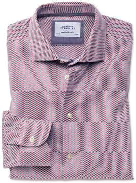 Charles Tyrwhitt Classic Fit Semi-Spread Collar Business Casual Non-Iron Modern Textures Red and Blue Cotton Dress Shirt Single Cuff Size 16/33