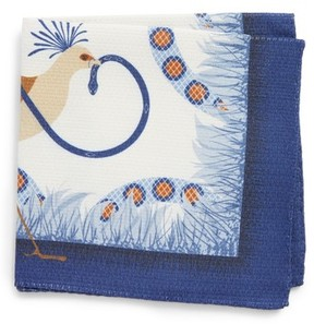 Eton Men's Bird And Serpent Silk Pocket Square