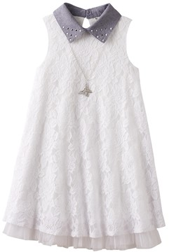Knitworks Girls 7-16 Embellished Collar Lace Swing Dress with Necklace