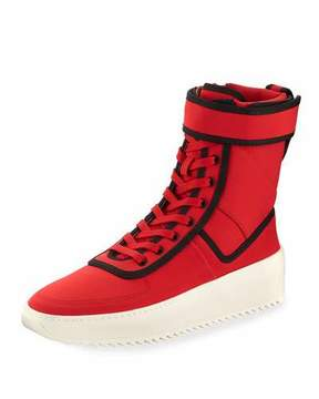 Fear Of God Men's Military Calf Leather Platform Sneakers, Red/Black