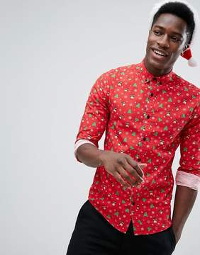 ONLY & SONS Slim Shirt With Holidays Print