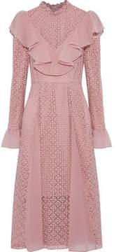 Temperley London Prairie Ruffled Chiffon-Trimmed Guipure Lace Dress