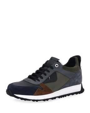 Fendi Monster Leather & Suede Running Sneaker