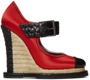Bottega Veneta Red Satin Wedge Heels