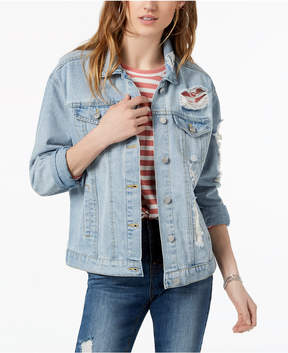 Almost Famous Crave Fame by Juniors' Cotton Ripped Denim Jacket