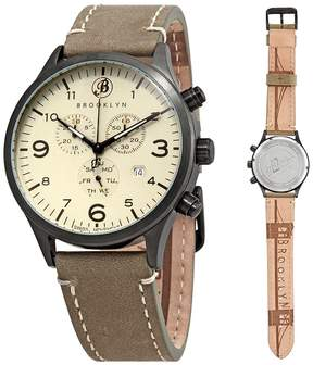 Co Brooklyn Watch Bedford Brownstone Chronograph Cream Dial Men's Watch