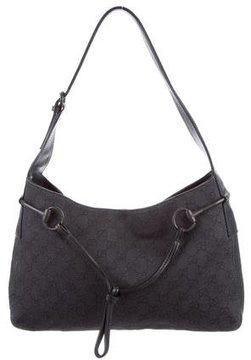 Gucci GG Denim Horsebit Shoulder Bag - BLACK - STYLE