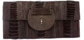 R&Y Augousti Ostrich Leg & Stingray Clutch