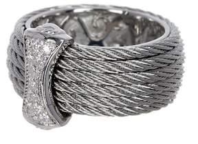 Alor 18K White Gold, Stainless Steel & Gray CBL Diamond Bar Ring - 0.12 ctw