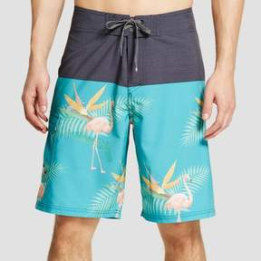 Ocean Current Men's Flamingo Colorblock Board Shorts Green