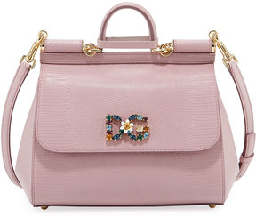 Dolce & Gabbana Miss Sicily Medium Stamped Leather Satchel Bag - PINK - STYLE