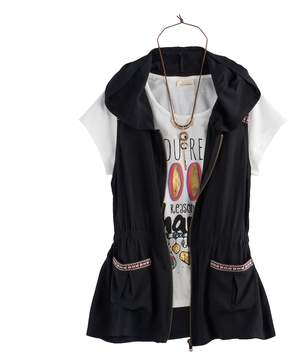 Self Esteem Girls 7-16 & Plus Size Hooded Vest & Graphic Tee Set with Necklace