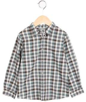 Bonpoint Boys' Gingham Print Button-Up Top