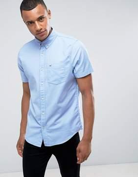 Hollister Short Sleeve Shirt Stretch Oxford Slim Fit Buttondown in Blue