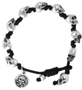 King Baby Studio Men's Skull Bead Bracelet