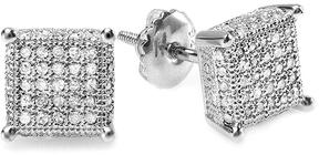 Ice 5/9 CT TW Diamond Platinum-Plated Sterling Silver Men's Stud Earrings