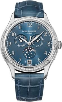 Patek Philippe Complications 4947G-001 18K White Gold & Leather 38mm Watch