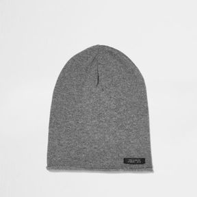 River Island Boys washed grey slouch beanie hat