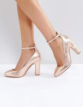 Dune London Aalto Rose Gold Block Heeled Shoes